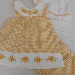 Baby Yellow Seersucker 3 Pc Set Size 24 mos
